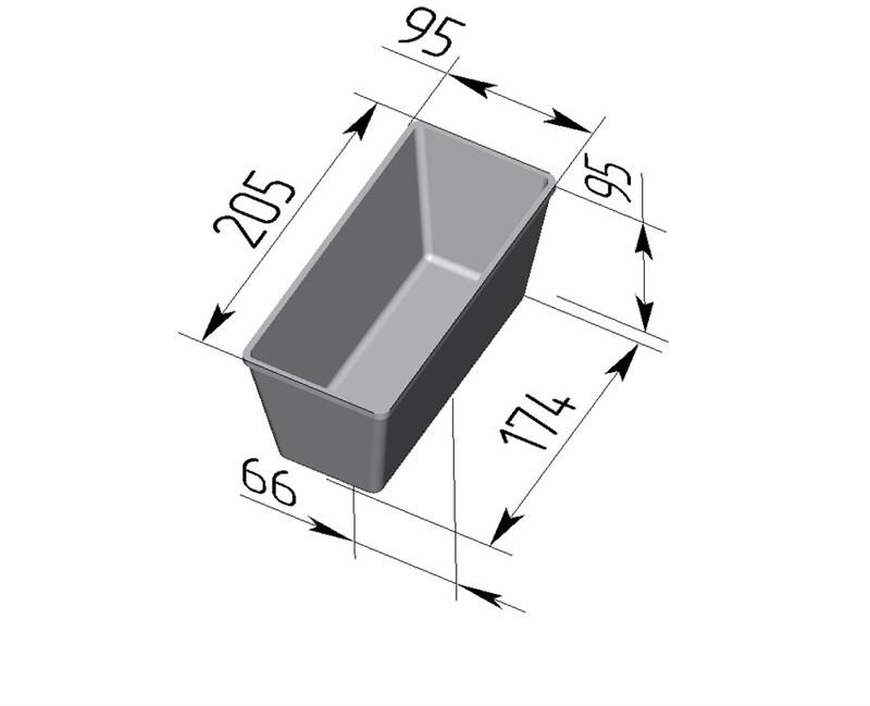 Форма для выпечки хлеба Л-10-2 (205х95х95 мм) - фото 4661