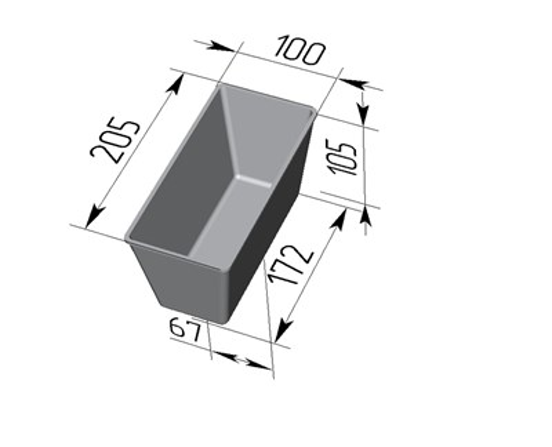 Форма для выпечки хлеба Л-10-3 (205х100х105 мм) - фото 4662