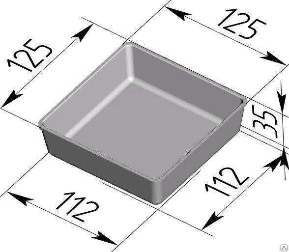 Форма для выпечки хлеба 125х125х35 - фото 4671