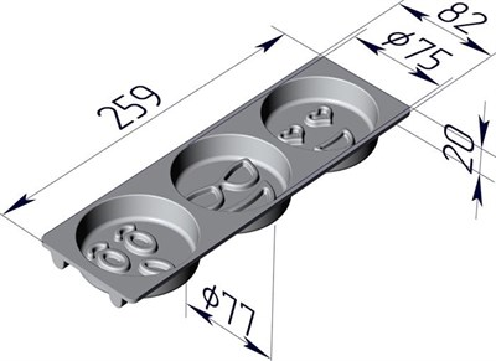 Форма для выпечки Смайлики 259х82х20 мм - фото 4731