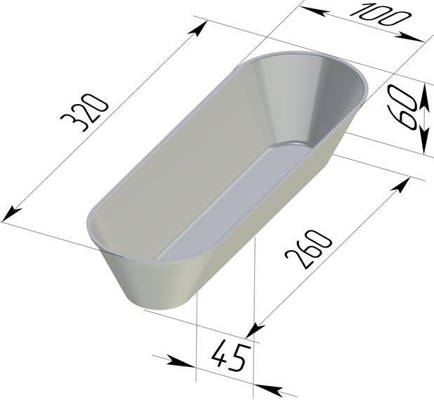 Форма для выпечки хлеба овальная 320х100х60 мм - фото 4743