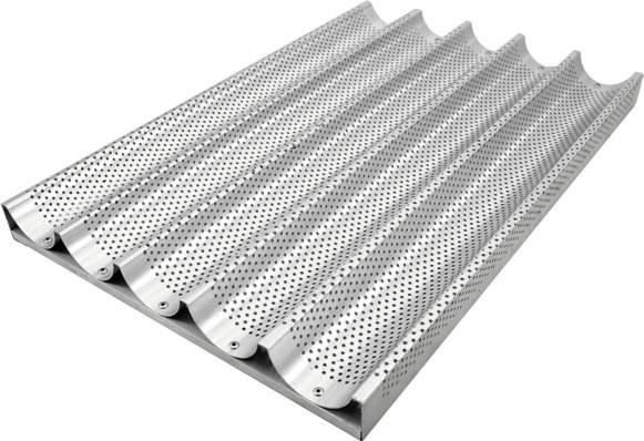 Противень для багетов алюминиевый перфорированный 5 секций 600х400 мм - фото 4788