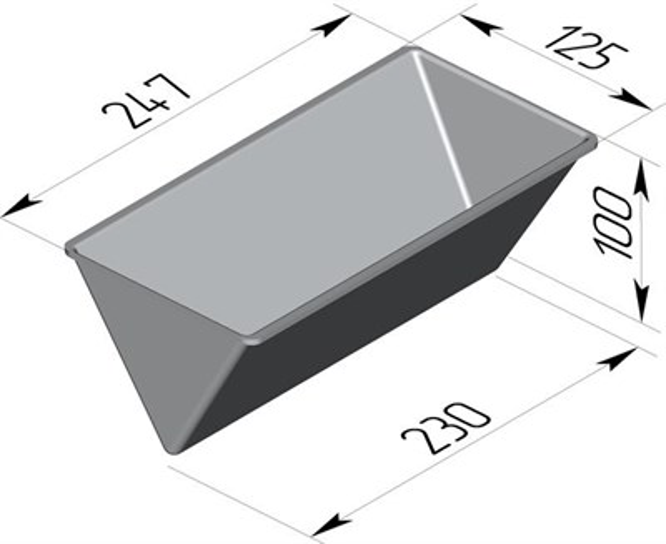 Форма для выпечки хлеба треугольная 247х125х100 - фото 4806