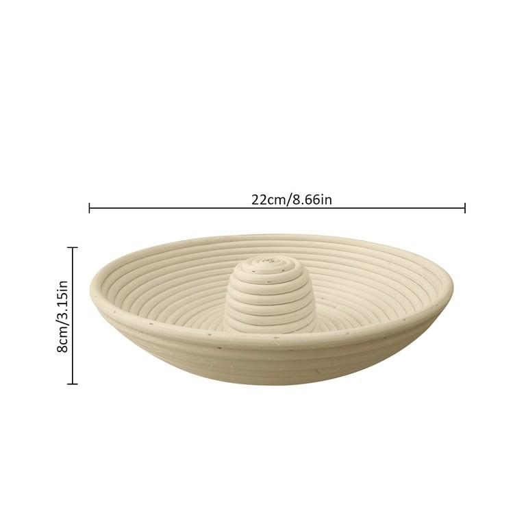 Корзинка для расстойки теста из лозы ротанга круглая без середины 22х8.5 см - фото 5561