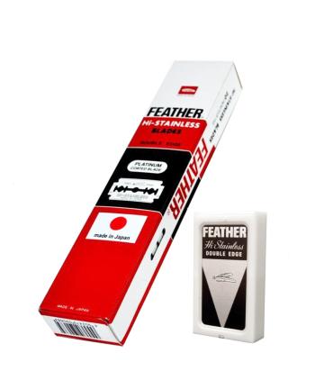 Набор сменных лезвий Feather Hi-Stainless платиновое покрытие (5 шт) - фото 5961