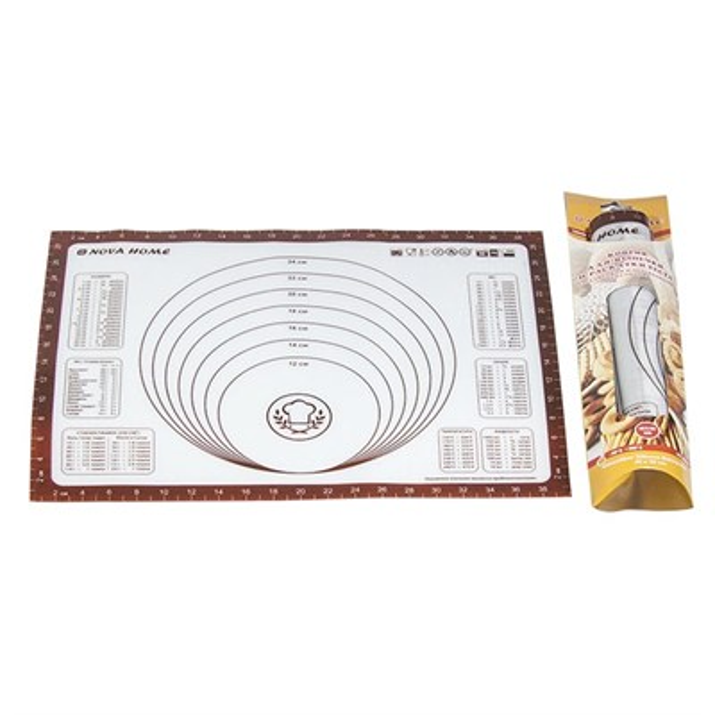 Коврик для раскатки теста и выпечки силиконовый Nova Home 61х45 см - фото 6044