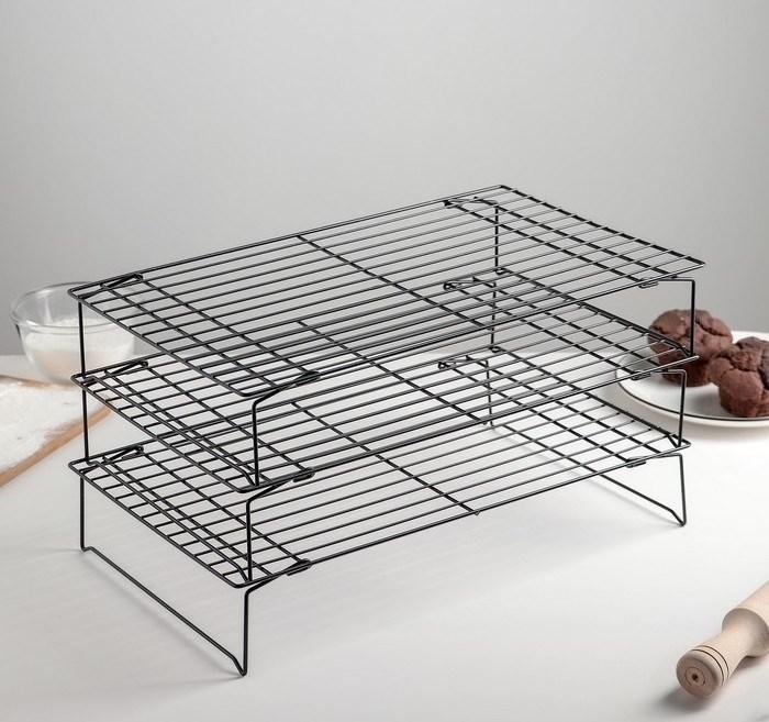 Решетка для охлаждения хлеба и выпечки 3-х ярусная 40х25 см - фото 6990