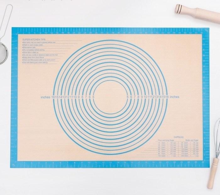 Армированный силиконовый коврик для раскатки теста и выпечки 71х50.5 см - фото 7350