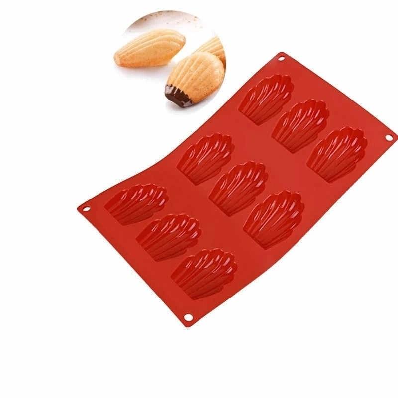 Форма для выпечки печенья Мадлен силиконовая 29,5×17 см, 9 ячеек - фото 7633