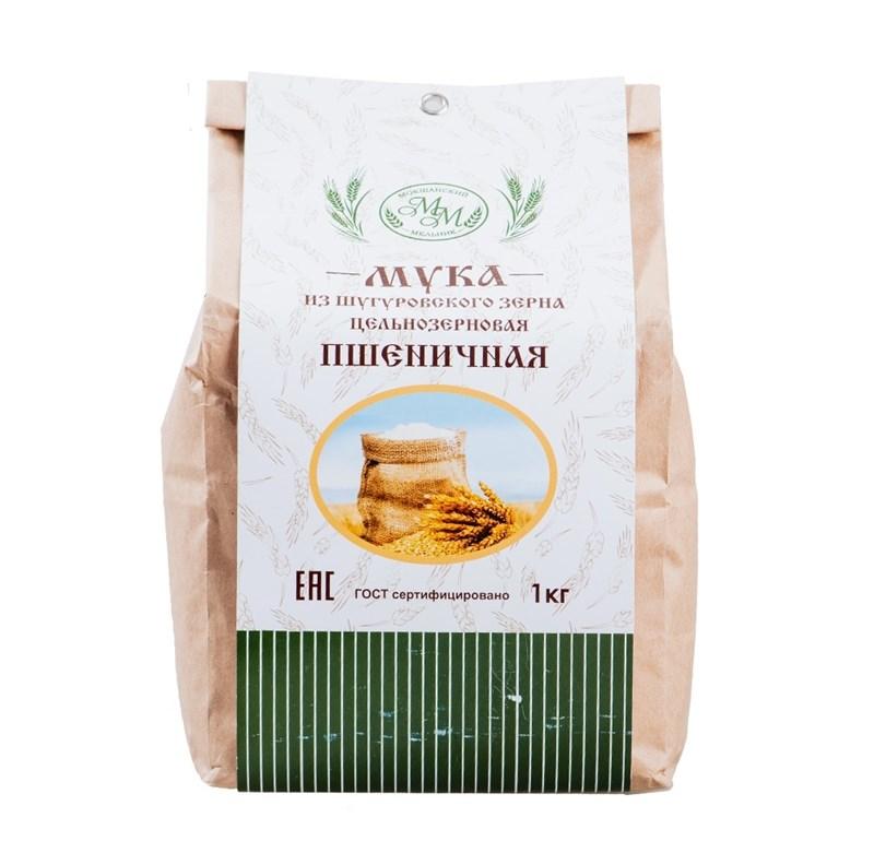 Мука пшеничная цельнозерновая из Шугуровского зерна, пакет 1 кг - фото 7643