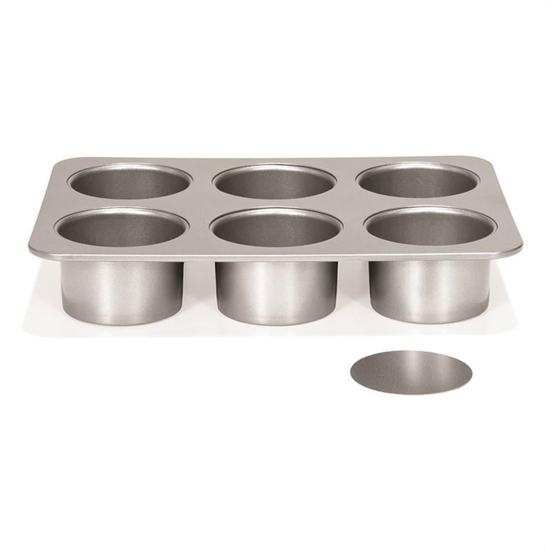 Форма для выпечки чизкейков на 6 ячеек со съемным дном Patiise Silver 31х22х5.5 см - фото 7665