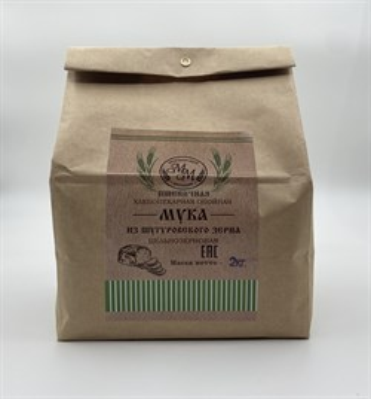 Мука пшеничная цельнозерновая из Шугуровского зерна, пакет 2 кг - фото 7719