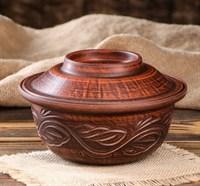 Керамическая форма для выпечки хлеба круглая с крышкой 16х7.5 см