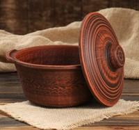 Керамическая форма для выпечки хлеба круглая с крышкой 17х8 см