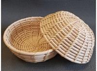Корзинка для расстойки теста из лозы ротанга круглая плетеная 21х9 см