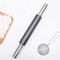 Скалка цельнометаллическая  с антипригарным покрытием 46х5 см